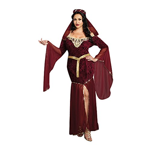 [Dreamgirl Women's Plus-Size Medieval Enchantress Royal Maiden Costume, Burgundy, 1X/2X] (Medieval Queen Plus Size Costumes)