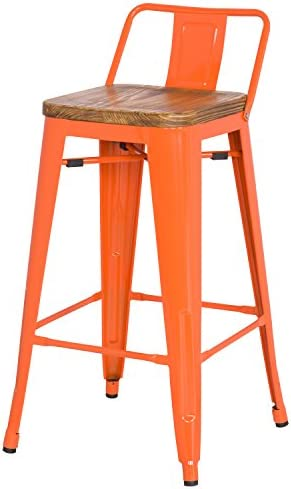 New Pacific Direct Metropolis Metal Low Back Counter Stool 26 Wood Seat,Indoor Outdoor Ready,Orange,Set of 4