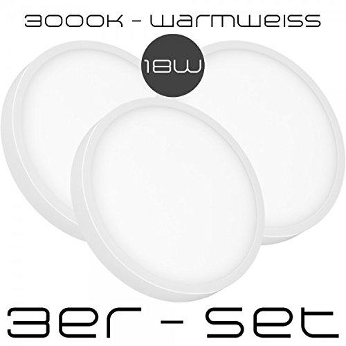 3er Sparset - 18W LED Aufbaustrahler Ultra Flach - nur 2,4 cm - Rund - LED Panel - Warmweiß - 3000K