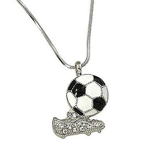Black and White Soccer Ball Rhinestones Cleat Shoe Pendant Silvertone Necklace, 17