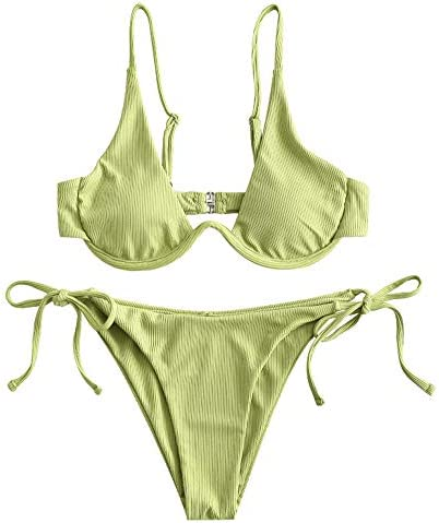 ZAFUL Women's Leopard Print Underwire High Cut Triangle Bikini Set Swimsuit