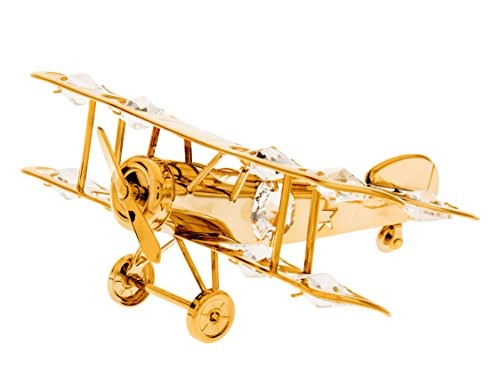 (Biplane 24k Gold Plated Figurine with Swarovski Crystals)
