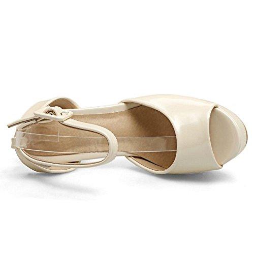 RAZAMAZA Mjuer Peep Toe Tac¨®n Ancho Sandalias Plataforma Slingback Zapatos Beige