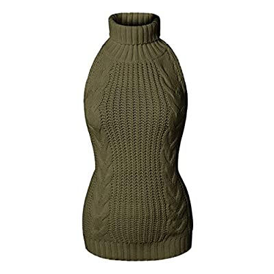 Olens Women's Women's Turtleneck Pullover Jumper Anime Cosplay Sweater Backless, Army Green, One Size at Women's Clothing store