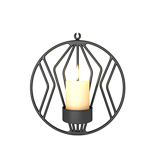 (3D Geometric Round Candlestick Wall Candle Holder Metal Hanging Wall Art Home Decoration (Black))