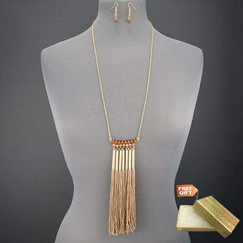 (Long Gold Chain Wood Faceted Stone Beads Multi Tassel Necklace With Earrings Set For Women + Gold Cotton Filled Gift Box for Free )