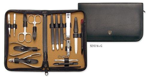 3 мечи - 16 шт Маникюр и педикюр Kit, изготовленные из высококачественного кожзаменителя в черном, Качество: Сделано в Золинген / Германия