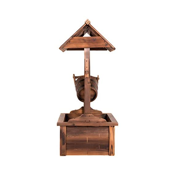 Worldrich 44-Inch Outdoor Garden Rustic Wood Wishing Well Water Fountain with Pump - UL Certified 120V Electric Pump- UL certified 120V electric pump serves as a powerful engine to keep the fountain flowing. High performance pump with 60Hz 3600r/min. Outdoor Deraction- This wishing well water fountain perfectly serves as a outdoor decoration for your backyard, patio, or garden. - patio, outdoor-decor, fountains - 41HzvbXjaXL. SS570  -
