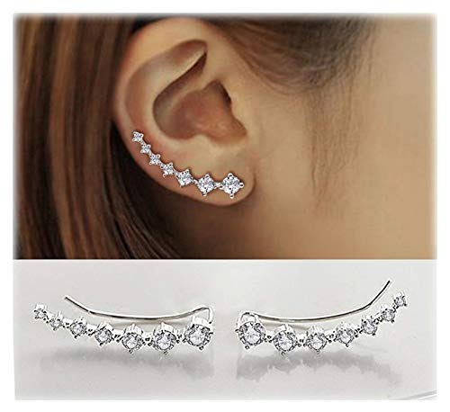 Elensan 7 Crystals Ear Cuffs Hoop Climber S925 Sterling Silver Hypoallergenic Women Earrings