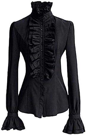 Xinantime Camisas de Manga Larga, Mujer Camisa de Gasa Retro Lolita Camisa con Volantes Cuello Alto Linterna Manga Blusas Victoriano Camisa con Encaje Blusa Superior de Corbata con Cuello de Volantes: Amazon.es: