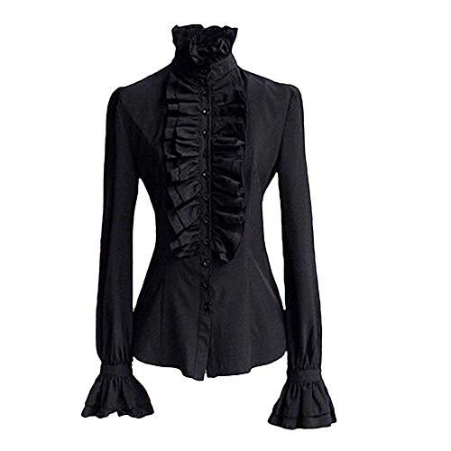 HYIRI ✈Avantgarde Women Retro Stand-Up Collar Lotus Ruffle Victoria Shirts Blouse Black (Attire Snowmobile)
