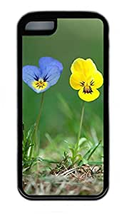 iPhone 5C Case, Personalized Protective Rubber Soft TPU Black Edge Case for iphone 5C - Blue Yellow Flowers Cover