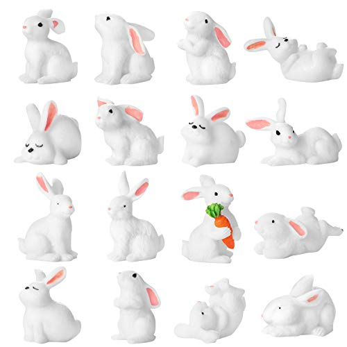 (16 Pieces Cute Animal Mini Bunny Figurines Cake Cupcake Toppers Party Decoration Rabbit Miniature for Kids Craft Playset Fun Office Home Decor)