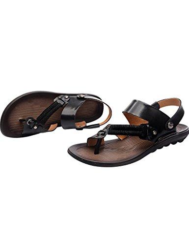 Glisser Sandales L'été Sur Pour Tongs Youlee 1 Cuir Noir Hommes Style Zq6FwctH