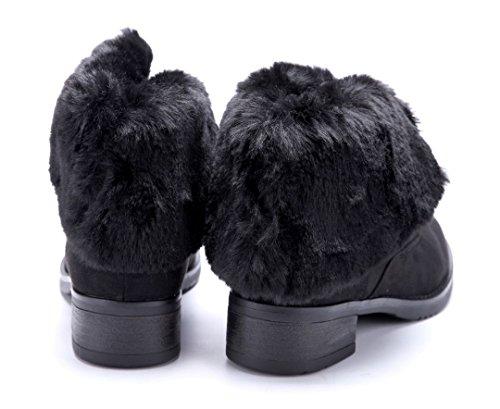 Schuhtempel24 Damen Schuhe Winterstiefeletten Stiefel Boots Blockabsatz 4 cm Schwarz