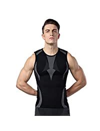 Emmas Style Men's Body Shaper Slimming Shirt Tummy Waist Vest Lose Weight Shirt, Men's Elastic Sculpting Vest Thermal Compression Base Layer Slim Compression Muscle Shapewear for Men