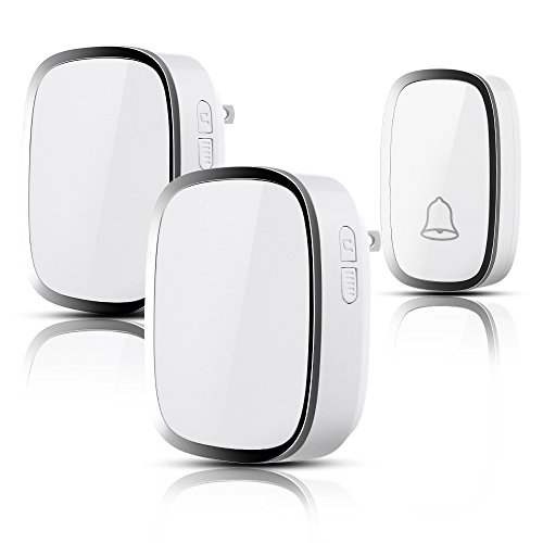 Wireless Doorbell WADAVA Waterproof Bell Plug-in Door Chime Kit with 1000ft 280m Range 36 Tunes 1 Push Button & 2 Receivers Without Battery Required 4 Level Volume LED Flash Hardware Included (white) by WADAVA