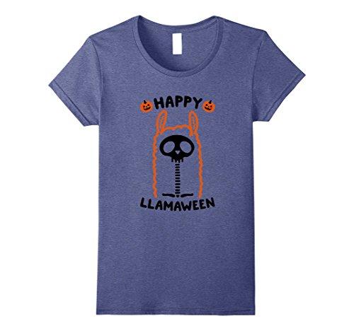 Llama Head Costume - Womens Happy Llamaween - Llama Halloween Funny Costume T-Shirt Small Heather Blue