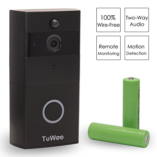 Optional Wired Remote - TuWoo Video Doorbell Camera Wireless WiFi—HD Video, Remote Viewing, 2-Way Talk, Smart Alerts, Free App, Battery Powered and Hard Wired Optional—8G TF Card & Rechargeable Batteries Included