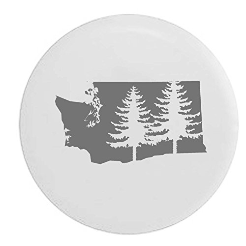State Tire Cover (Washington Pine Trees Home State Edition RV Spare Tire Cover OEM Vinyl White 27.5 in)