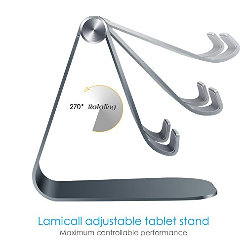 Supporto Tablet, Lamicall Supporto Regolabile : Universale Stand Dock per 2018 Pad Pro 10.5, Pro 9.7, Pro 12.9, Pad mini 2 3 4, Pad Air, Air 2, Phone, Samsung Tab, altri Tablets – Grigio
