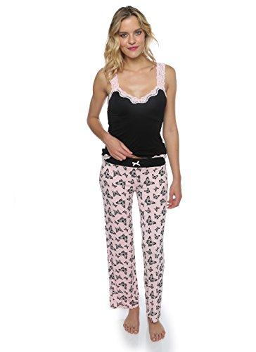 Butterfly Tank Womens Top - Nanette Nanette Lepore Women's 2 Piece Butterfly Print Tank Top and Long Pant Sleepwear Set Pink Xlarge