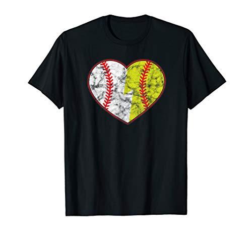(vintage distressed Softball Baseball Heart designer)