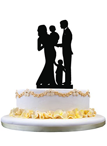 Family Silhouette - Wedding Cake Topper- Happy Family Cake Topper, Bride and Groom with 2 Kids Silhouette, Anniversary Party Decor
