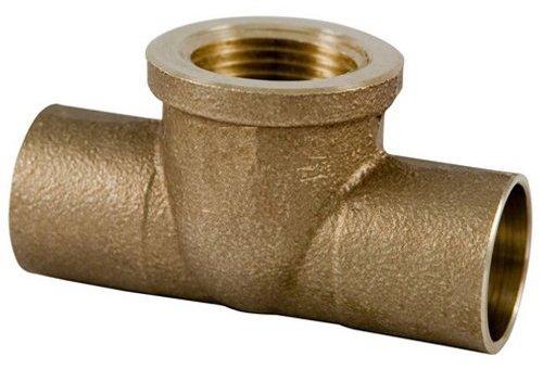 Plumber's Choice 92363 Cast Brass Sweat Fitting, Tee, C x C x FIP, 3/4-Inch x 3/4-Inch x 1/2-Inch