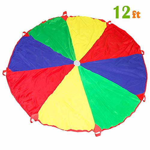 Kids Play Parachute 12ft Kids Sport Parachute with 8 Easy Hold Handles for Team Game]()