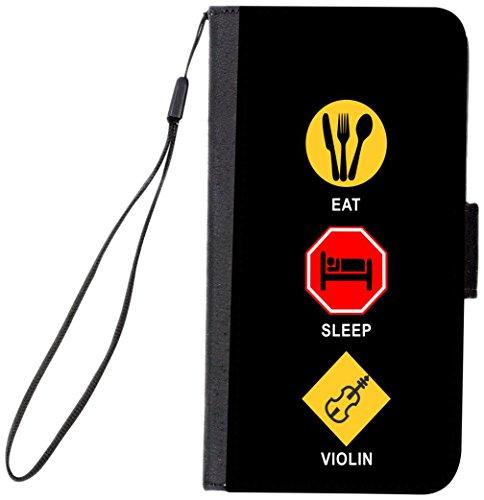 Folio Violin - Rikki Knight Magnetic Clasp Closure Folio Case for Apple iPhone 7 Plus/ iPhone 8 Plus - Eat Sleep Violin