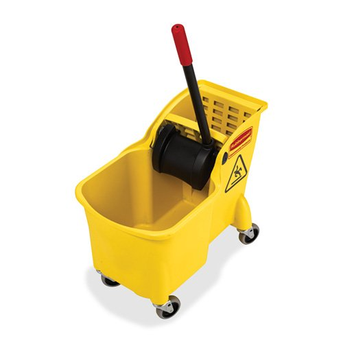 Mop Bucket Combo, Wringer, 31 Qt, 13-1/4''x22-5/8''x32-1/4'', YW, Sold as 1 Each - Rubbermaid Commercial Products Mop Bucket Combo, Wringer, 31 Qt, 13-