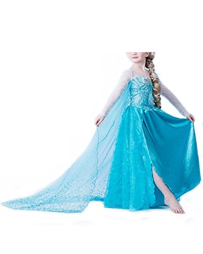 Yigoo Big Girls' Frozen Anna Elsa Princess Halloween Costume Cosplay Fancy Dress 140 cm Blue