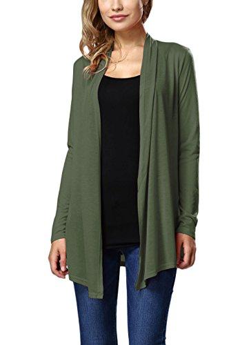 Donna Cardigan Elegante Manica Lunga Tinta Unita Larghi Cute Chic Moda Classico Autunno Casual Lungo Cappotto Cappotti Camicia Top Outwear Verde