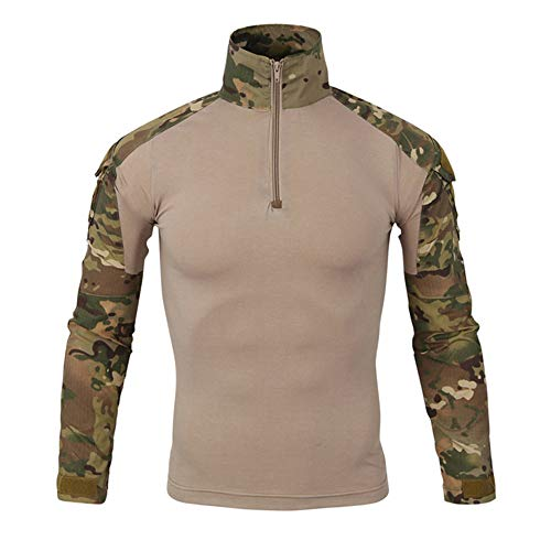 (Hot Sale,WUAI Clearance Mens Casual Shirts Camo Printed with Pocket Tactics Army Beefy Muscle Basic Stylish Tops(Khaki,US Size L = Tag)