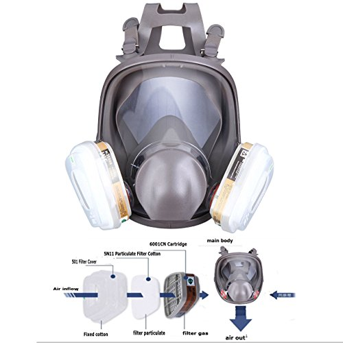 Yunge Full Face Respirator Gas Mask For 6800 Painting Spraying(15 in 1)Facepiece Respirator- Industrial Grade Quality by YungeEquipmentUS (Image #10)
