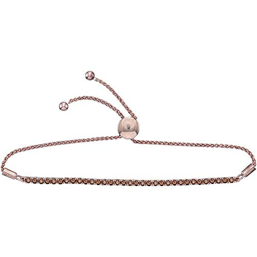 Jewel Tie Solid 10k Rose Gold Round Natural Chocolate Brown Diamond Bolo Bracelet 2.0 Cttw