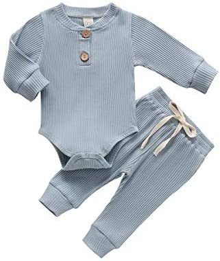 Newborn Baby Boy Girl Clothes Ribbed Knitted Cotton Long Sleeve Romper Long Pants Solid Color Fall Winter Outfits