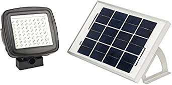 MicroSolar - NATURAL WHITE (Not Bluish) 400 LUMEN - 5W ANGLE ADJUSTABLE Solar Panel - Lithium Battery Solar Flood Light  // Wall or Ground Mounted // 2 AXES Adjustable Light Fixture
