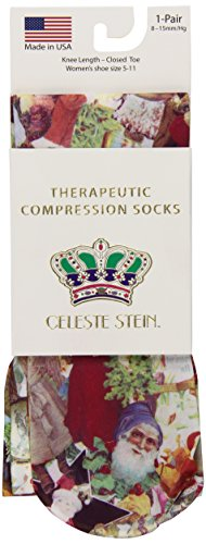 Celeste Stein Therapeutic Compression Socks, Dickins Christmas, 8-15 mmhg, 1-Pair