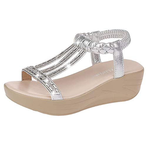 ◕‿◕Watere◕‿◕ Women's Open Toe Wedge Sandals,One-Button Buckle with Wedge Heels Open Toe Rhinestone Platform Sandals Silver