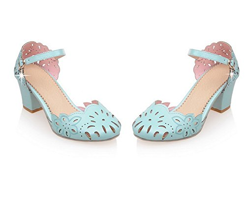 Toe Sandals WeenFashion Pu Solid Closed Buckle Blue Women's Heels Kitten CA18LB04780 0wf08qU