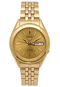Amazon Com Seiko 5 Automatic 21 Jewels Gold Tone Gold Dial Watch Snkl28 Watches