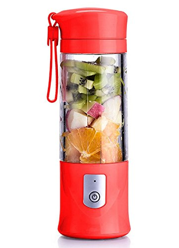 USB Electric Safety Juicer Cup, Fruit Juice mixer, Mini Portable Rechargeable / Juicing Mixing Crush Ice and Blender Mixer ,420-530ml Water Bottle ( Red) (Rechargeable Portable Blender)