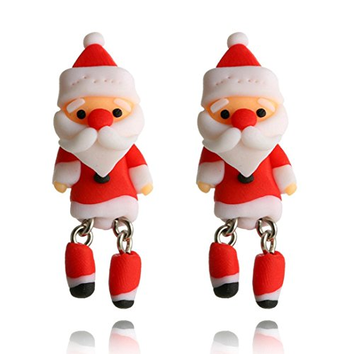 Inlaid Gold Plated Clasp (Jujunx Xmas Santa Claus Jewelry Christmas Earrings Women Drop Dangle Earrings New Year Gift (Red))