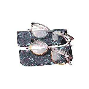 SOOLALA Designer Spring Hinge Wayfarer Wide Lens Reading Glass w/ Pouch, GrayTea, +3.0