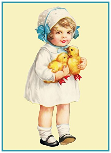 Orenco Originals Vintage Easter Young Girl Blue Bows and Baby Chicks Counted Cross Stitch (Easter Cross Stitch Pattern)