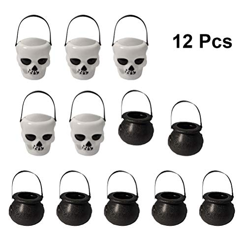 Toyvian Secchio Halloween Candy Teschio Teste Witch's Cauldron Dolcetto o scherzetto Candy Pail Holder 12pcs (5 Skull Box, 7 Witch Box)