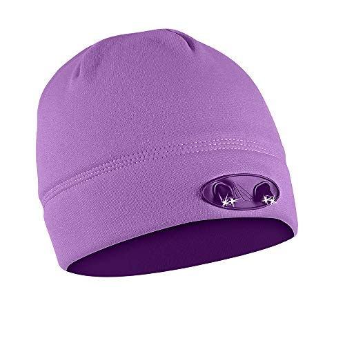POWERCAP LED Beanie Cap 35/55 Ultra-Bright Hands Free LED Lighted Battery Powered Headlamp Hat - Purple Fleece -