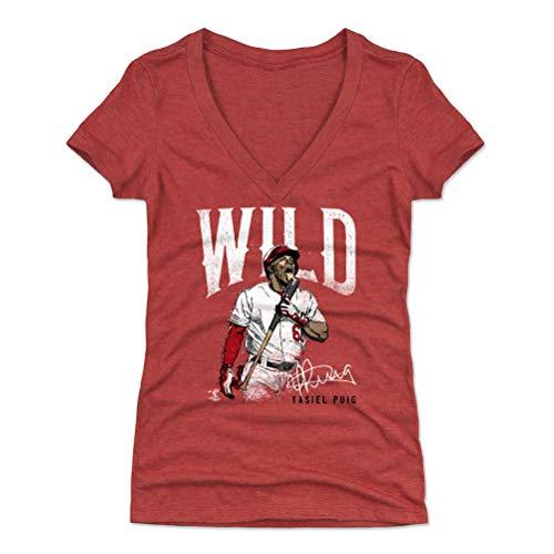 500 LEVEL Yasiel Puig Women's V-Neck Shirt (Small, Tri Red) - Cincinnati Reds Shirt for Women - Yasiel Puig Wild W WHT